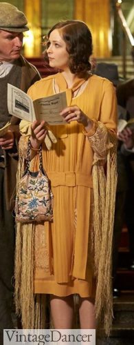 Yellow day dress with shawl and purse (Miss Fisher Murder Mysteries)