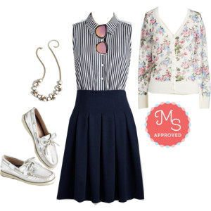Modcloth vintage style striped summer outfit. Click to see more.