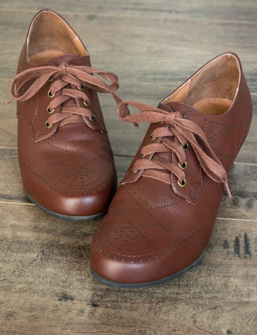 1940s Style Shoes  Claire 1940s Oxfords by Royal Vintage BrownPre-Order $160.00 AT vintagedancer.com