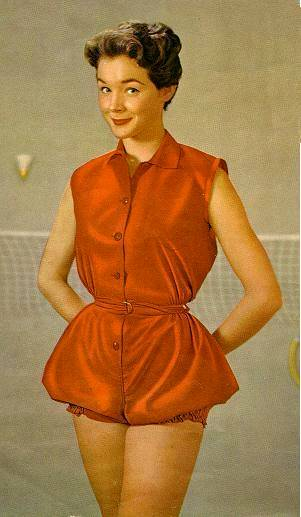 1950s red bloomer short gymsuit