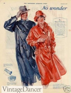 1920s ladies and mens raincoat