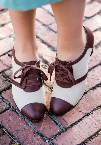 Vintage Style Shoes, Vintage Inspired Shoes  Evelyn Retro Oxfords by Royal Vintage TanBrown Pre-Order $150.00 AT vintagedancer.com