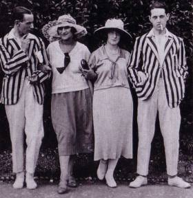 1920 striped boater jackets and white trousers