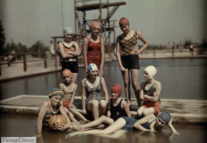 1920s Swimsuits Women And Men Parasols Too