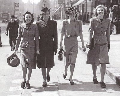 Fashionable 1940s women in suits