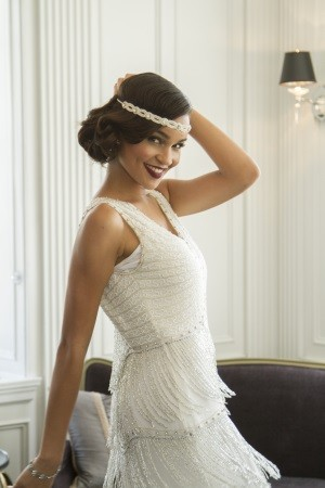 1920s Themed Wedding Dress and Headband. At VintageDancer.com