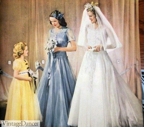 1940s wedding party- brides, bridesmaid and flower girl