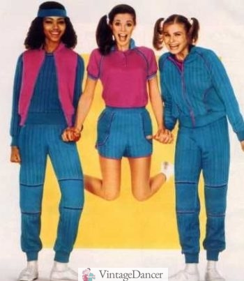 1982 girls' athletic wear, tracksuit on right