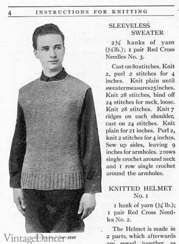 WW1 pattern for men's knitted sleeveless sweater